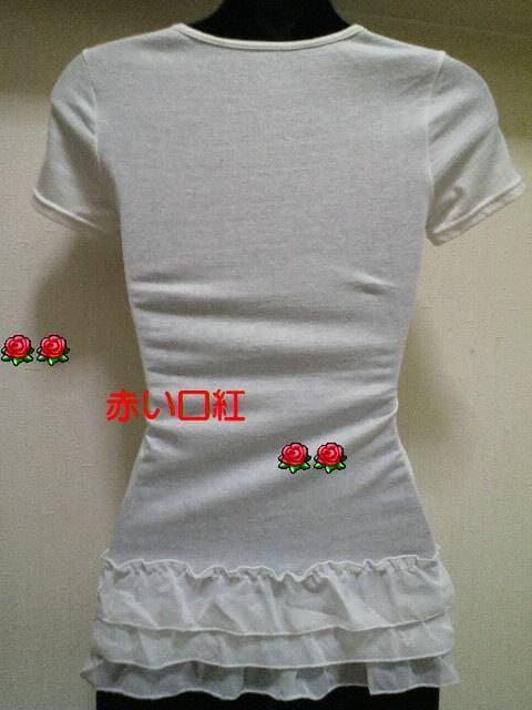SS〜Sサイズ*細身size裾シホン3段フリル・フレンチ袖Tシャツオフホワイト < 女性ファッションの