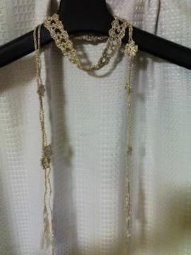手編みゴールドのチョーカー 小花モチーフ付
