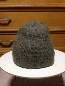 古着 毛 ウール ニット帽子 キャップ カーキ オリーブ緑 S〜Mサイズ 小さめ 日本製