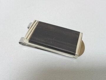 正規美 カルティエ ウッド トリニティー立体マネークリップ 黒木目×SV925 コンビ 財布