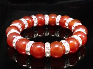 天然カーネリアン12ミリ§銀ロンデル数珠