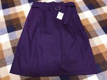 新品未使用アースミュージック紫色ベルト付きナロースカート