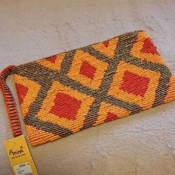 ビーズ編みポーチ 未使用難あり