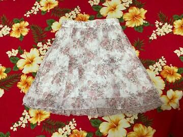 レストローズ☆清楚バラ柄☆裾レースふんわり上品スカート☆