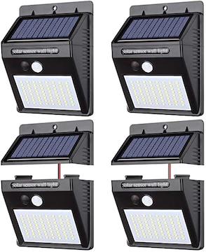 【 4個セット】ソーラーライト パネル分離 センサーライト 64LED