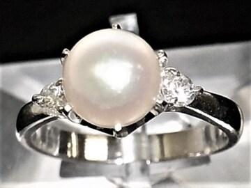 Pt900プラチナ リング 指輪 パール8mm アコヤ真珠 ダイヤ 0.20ct
