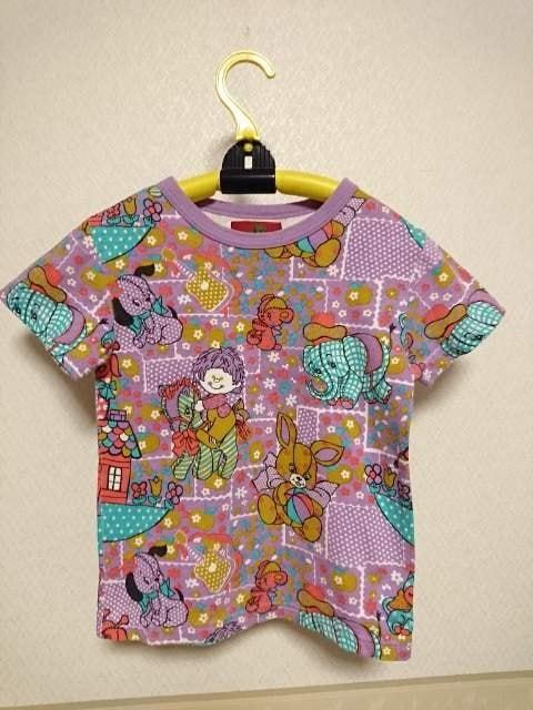 グラグラ パッチワーク半袖 T シャツ紫 120  < ブランドの