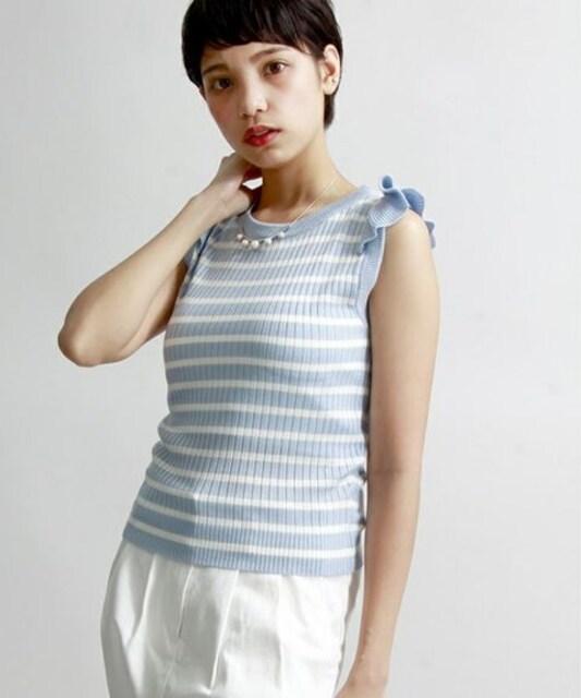 ☆ノースリフリルリブニット☆新品タグ付き  < 女性ファッションの