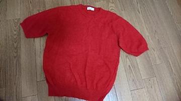 新品 ニット セーター 赤 レッド日本製 ウール昆