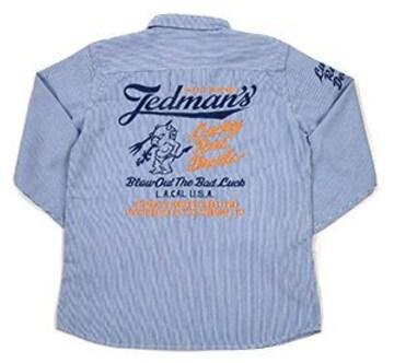 テッドマン/刺繍ヒッコリーワークシャツ/tshb-1700/エフ商会/カミナリモータース
