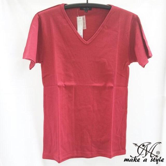 Vネック フライス Tシャツ 半袖 TEE ワイン ワインレッド 赤 < 男性ファッションの