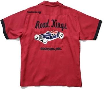 Houston/刺繍/ボーリングシャツ/マルーン/40664