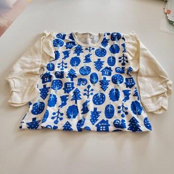 白に青い森模様、長袖Tシャツ95