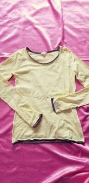 黄色レモンイエロー×カーキ切りっ放しカットオフ綿長袖Tシャツ