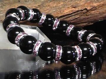 天然オニキス12ミリ§パープルロンデル数珠
