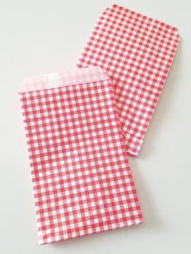 R100サイズ平袋★チェック赤10枚★小さい紙袋