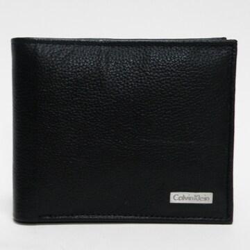 超美品 カルバンクライン 二つ折り財布 黒 良品 正規品
