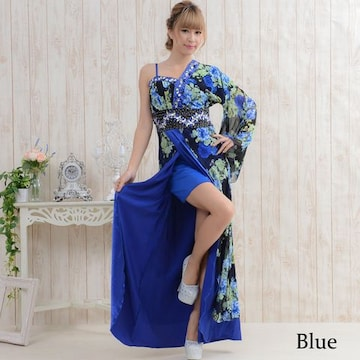 豪華ビジューロング着物ドレス和柄 衣装 ダンス よさこい 花魁 コスプレ