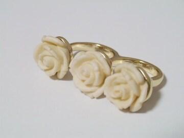 処分価格新品ゴスロリ姫系アンティーク調薔薇二本指リング指輪
