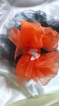 1☆73 送込 ワンchan用〓浴衣〓飾り〓 ブラック×オレンジ