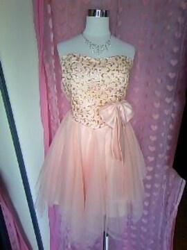 胸元キラキラgoldラメデカおリボン&チュールひらひらアシメなミニドレス