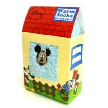 ディズニー【ミッキー】お家型BOXギフトに♪刺繍ふわふわウォームソックス靴下