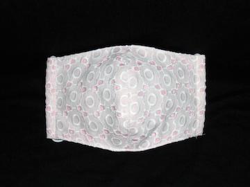 即決◆大◆白い丸い花レース×ピンク下地◆ファッションマスク