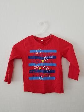 赤にボーダーさくらんぼ柄長袖Tシャツ100