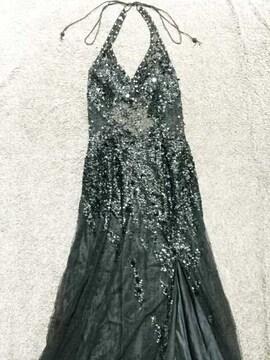 JEANMACLEAN黒高級シースルービーズビジューロングドレス