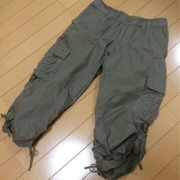 新品◆クシュクシュ半端丈パンツ◆カーキW64〜70ウエストゴム