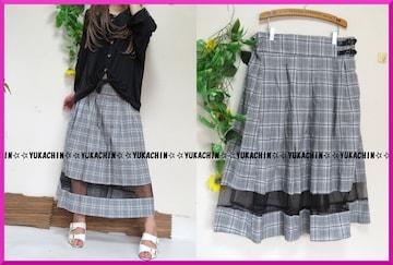 新作◆大きいサイズ4Lグレー系チェック柄◆裾レース使い◆ゆるプリーツスカート