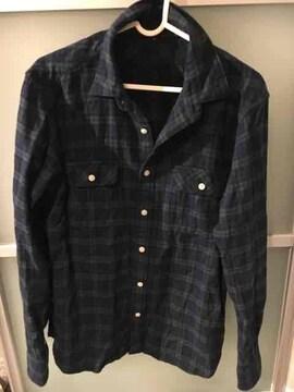 無印良品 チェックシャツ M グリーンxネイビー