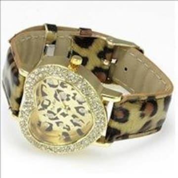★かわいいハート型 腕時計 アニマル柄 ゴールド 他カラー有