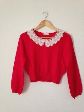 アースミュージック◆レースかぎ編み襟 ニット セーター S