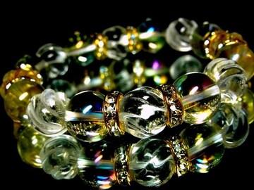 トルネードスクリュー水晶§アクアオーラレインボー§12ミリ§金ロンデル