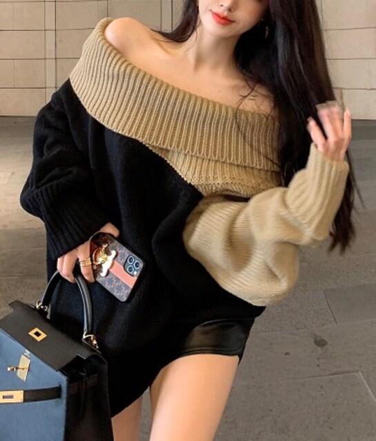 しっかり生地*オフショル*ゆったり*バイカラー*ニット*セーター*黒×ベージュ★ < 女性ファッションの