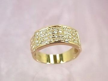 特価 18金 0.41ct ダイヤモンド 平打ちリング 12号 r-943★dot