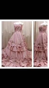 美品キラキラバタフライ蝶々ピンク プリンセスカラードレス