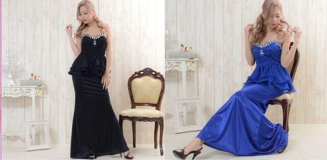 胸元ビジュー&レース シフォンフリル美ボディー マキシロング キャバドレス < 女性ファッションの
