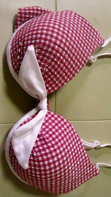 RIOKAポコポコチェック柄リボンブラジャー型ワイヤービキニ水着スカート3点セット7S < 女性ファッションの