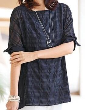 未使用品◆シアーチェック◆袖リボン ブラウス/サイズL