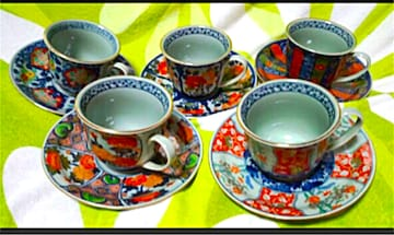 アンティーク 日本茶器 錦染 古伊万里絵変わりコーヒー碗皿揃