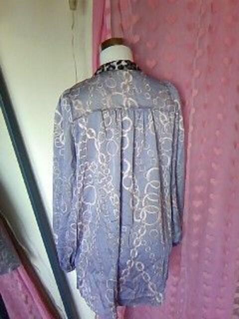 diaヒョウ&チェーン柄goldボタンスカーフ付つるつるシャツ新品 < ブランドの