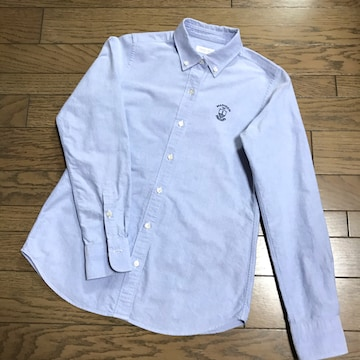 鎌倉シャツメーカーズシャツ鎌倉綿コットン青ボタンダウンシャツ