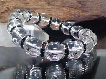 天然水晶12ミリ§ブラックロンデル数珠