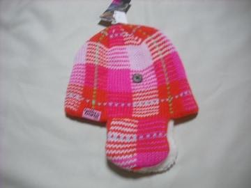 wb22 女 BILLABONG ビラボン 耳当て付き チェック ニット帽