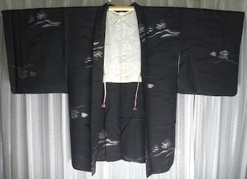 和服、着物/正絹、黒絵羽織/日本の伝統美中古品