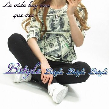 NEW最新ドル札/総柄ユニセックス海外インポートBIGTシャツ限定6686
