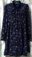 ダズリンdazzlinドット&紫花柄ネイビーシャツワンピース美品axesゴスロリィタ
