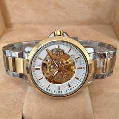 送料無料★100m防水スケルトンメンズ自動巻き腕時計・ホワイト×コンビ